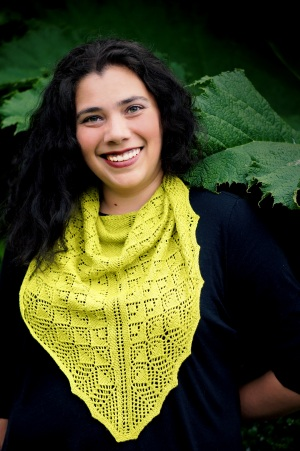 Anastasia E White - JahDoily Knits designer, owner and artist. Photo by Grace Photography