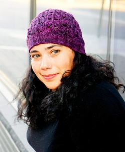 Bleeding Hearts Hat in Tanis Fiber Arts Green Lable Aran. Image by GracePhotography